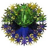 "Mardi Gras Decorations 12"" Green, Gold, Purple Star Ball Image"