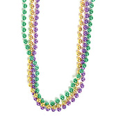 Mardi Gras Party Wear Green, Gold, Purple Metallic Bead Necklaces Image