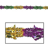 "Mardi Gras Decorations 9'x8"" Green-Gold-Purple Metallic Garland Image"
