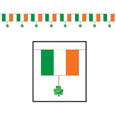 St. Patrick's Day Decorations Shamrock and Flag Banner Image