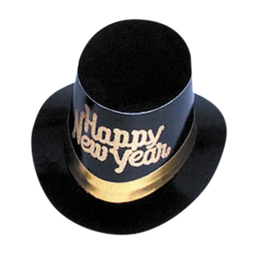 New Years Hats & Headwear Gold Happy New Year Top Hat Image
