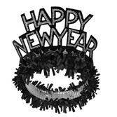 New Years Hats & Headwear Black & Silver New Year Fringed Tiara Image