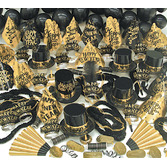 New Years Party Kits Black and Gold Party Kit for 100 Image