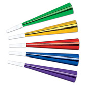 """New Years Favors & Prizes Assorted Color 9"""" Foil Horn Image"""