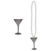 New Years Party Wear Black and Silver Martini Glass Bead Necklace Image