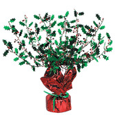 Christmas Decorations Metallic Holly & Berry Burst Centerpiece Image