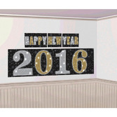 New Years Decorations 2016 Black and Silver Backdrop Image