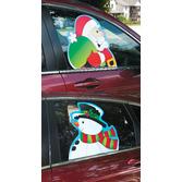 Christmas Decorations Santa Snowman Car Window Cling Image