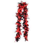 Party Wear Red Black Feathered Boa Image