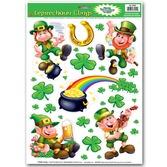 St. Patrick's Day Decorations Leprechaun & Shamrock Clings Image