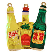 Cinco de Mayo Decorations Beer / Tequila Bottle Tin Ornament Image