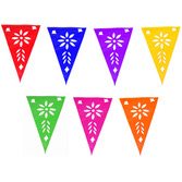 Cinco de Mayo Decorations Multicolor Plastic Picado Pennant Banner Image