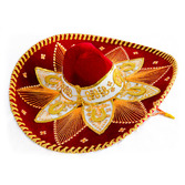 Cinco de Mayo Hats & Headwear Red and Gold Mariachi Sombrero Image