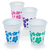 Luau Table Accessories Hibiscus Print Plastic Cups Image