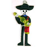 Day of the Dead Decorations Day of the Dead Mariachi Tin Ornament Image