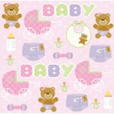 Baby Shower Table Accessories Teddy Baby Pink Beverage Napkins Image