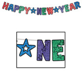 New Years Decorations Multicolored Glittered Happy New Year Streamer Image