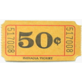Tickets & Wristbands Yellow 50 Cent Ticket Roll Image