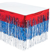 4th of July Table Accessories Patriotic Fringe Table Skirt Image