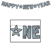 New Years Decorations Glittered Happy New Year Silver Streamer Image