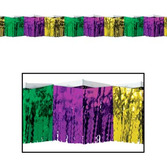 Mardi Gras Decorations Green, Gold, and Purple Diamond Fringe Drape Image