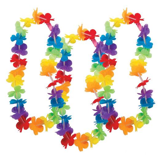 Luau Party Wear Rainbow Flower Lei Image