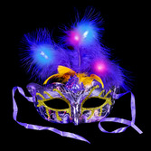 Glow Lights Light Up Feather Mask Image