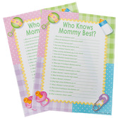 """Baby Shower Decorations """"Who Knows Mommy Best?"""" Game Image"""