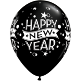New Years Balloons Black Classic Happy New Year Balloon Image