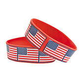 4th of July Favors & Prizes American Flag Rubber Bracelets Image