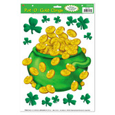 St. Patrick's Day Decorations Pot o' Gold Glass Clings Image