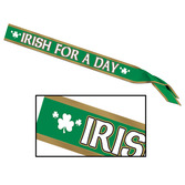 "St. Patrick's Day Party Wear ""Irish For A Day"" Satin Sash Image"
