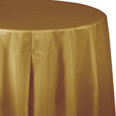 New Years Table Accessories Round Table Cover Metallic Gold Image