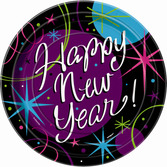"New Years Table Accessories Stellar New Year 7"" Plates Image"