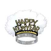 New Years Hats & Headwear Black and Gold Feathered New Year Tiara Image