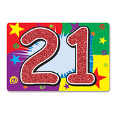 Birthday Party Decorations Glittered 21 Sign Image