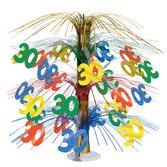 Birthday Party Decorations 30th Multicolor Cascade Centerpiece Image
