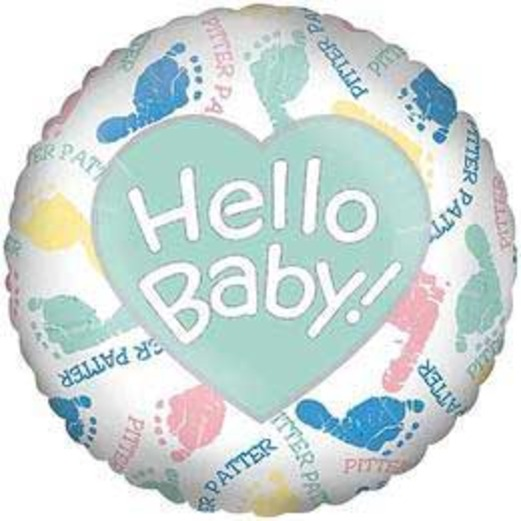 Baby Shower Balloons Hello Baby Pitter Patter Mylar Balloon Image