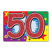 Birthday Party Decorations Glittered 50 Sign Image
