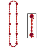 Sports Party Wear Football Beads Red Necklace Image