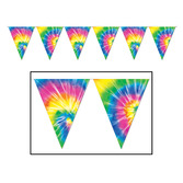 60s & 70s Decorations Tie Dyed Pennant Banner Image
