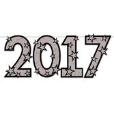 New Years Decorations Silver Glitter 2017 Streamer Image
