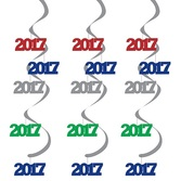 New Years Decorations 2017 Assorted Dizzy Danglers Image