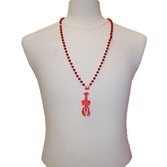 Mardi Gras Party Wear Red Crawfish Bead Necklaces Image