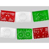 Cinco de Mayo Decorations Small Red, White, Green Plastic Picado Banner Image