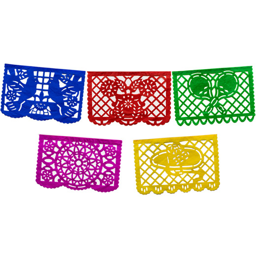 Cinco de Mayo Decorations Large Paper Picado Banner- Multicolor Image