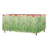 Luau Table Accessories Green Grass Table Skirt With Flowers Image
