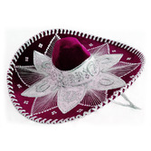 Cinco de Mayo Hats & Headwear Burgundy and White Mariachi Sombrero Image
