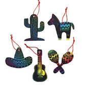 Cinco de Mayo Favors & Prizes Fiesta Magic Color Scratch Ornaments Image
