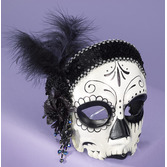 Day of the Dead Party Wear Female Skull Flapper Mask Image